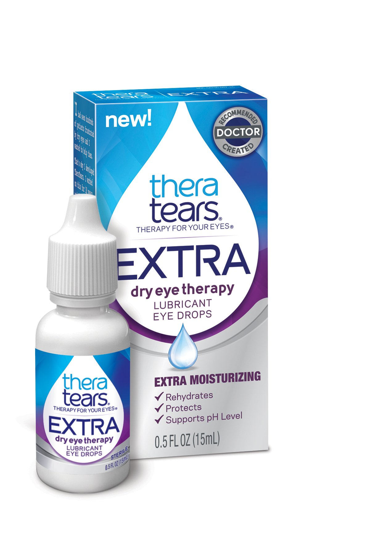 TheraTears Eye Drops for Dry Eyes, Extra Dry Eye Therapy Lubricant Eyedrops, 0.5 Fl oz, 15 mL