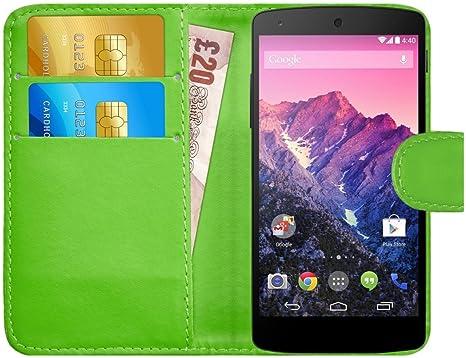 G-Shield Funda para LG Google Nexus 5, Carcasa de Cuero con Ranuras para Tarjetas, Verde