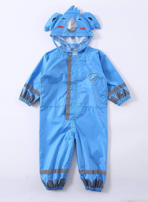 L, Blue YOUDirect Kids Raincoat Girl Boy Cartoon Rain Wear Waterproof Poncho One Piece Rain Suit With Transparent Hood and Reflective Strip