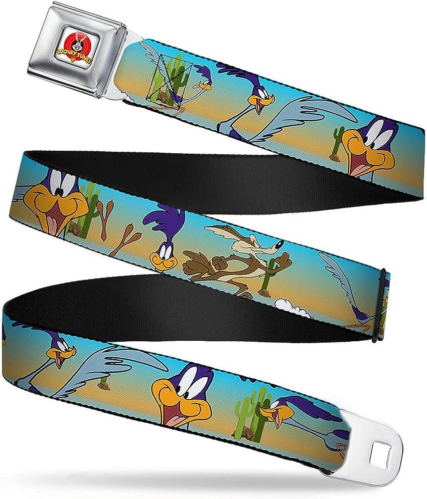 Buckle-Down Seatbelt Belt 24-38 Inches in Length Road Runner//Wile E 1.5 Wide Coyote Scene1 Desert