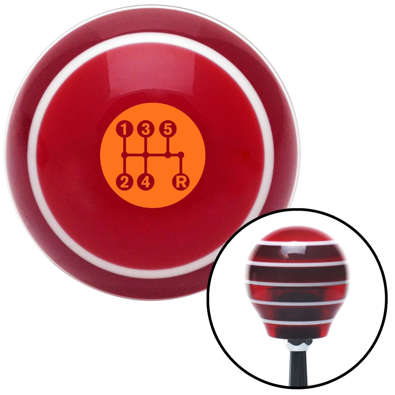 Orange 5 Speed Shift Pattern - Dots 15 Red Stripe with M16 x 1.5 Insert American Shifter 274281 Shift Knob