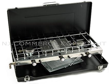 FS-430 plegable estufa de gas grill 3 quemador portátil funda de transporte + butano