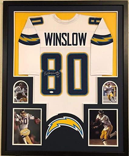 FRAMED SAN DIEGO CHARGERS KELLEN WINSLOW AUTOGRAPHED SIGNED INSC ...