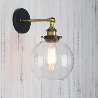 permo clear glass globe wall sconce vintage industrial 1light rustic wall mount light