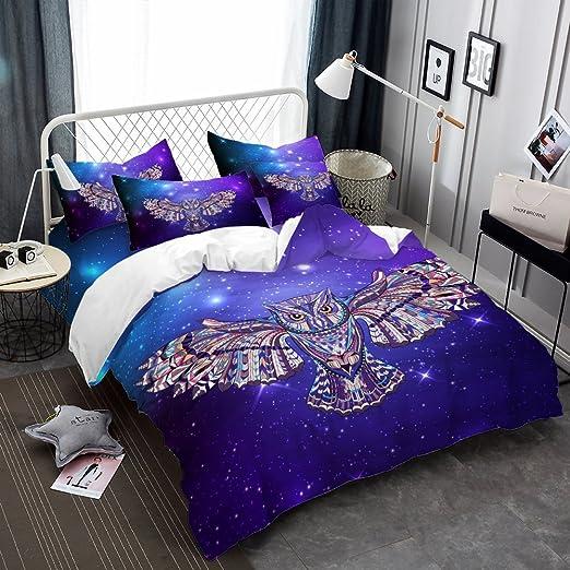 Amazon Com Quilt Cover Twin Size Purple Owl Duvet Cover Set Twin