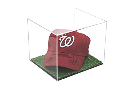 Versatile Deluxe Clear Acrylic Display Case – Small Rectangle Box with with Turf Base 8.75 x 7.75 x 7 A006-CTB