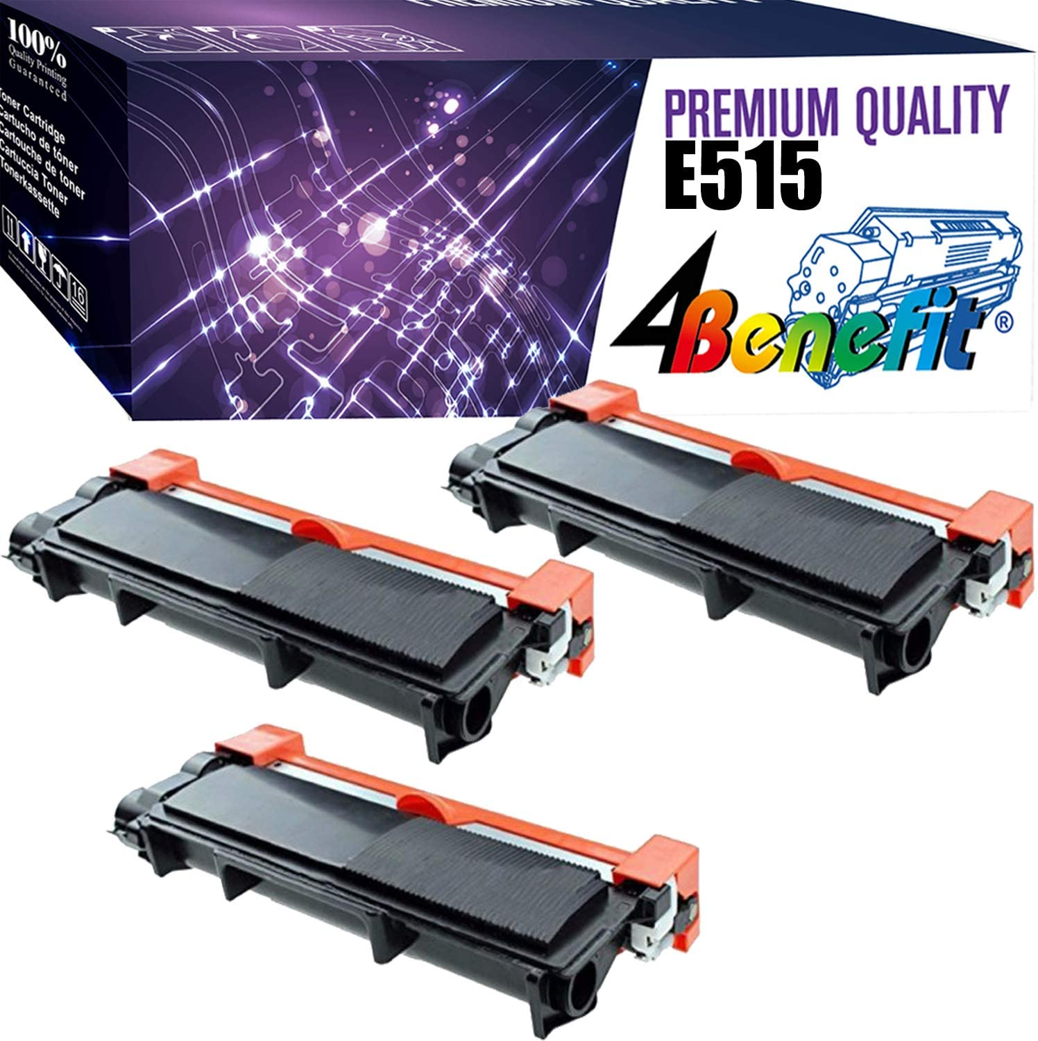 4Benefit Compatible Toner Cartridge Replacement for Dell E310 E515 Used for Dell E310dw E515dw E514dw E515dn E310 E514 E515 Printers(3-Pack, Black)