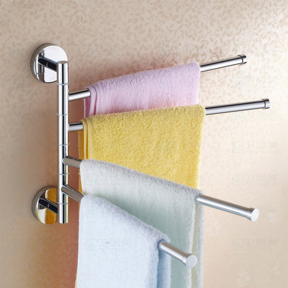 YIR Bathroom Swing Arm Towel Bars 2-4Arm Wall Mount Swing Out Towel Shelf Brushed Stainless Steel x