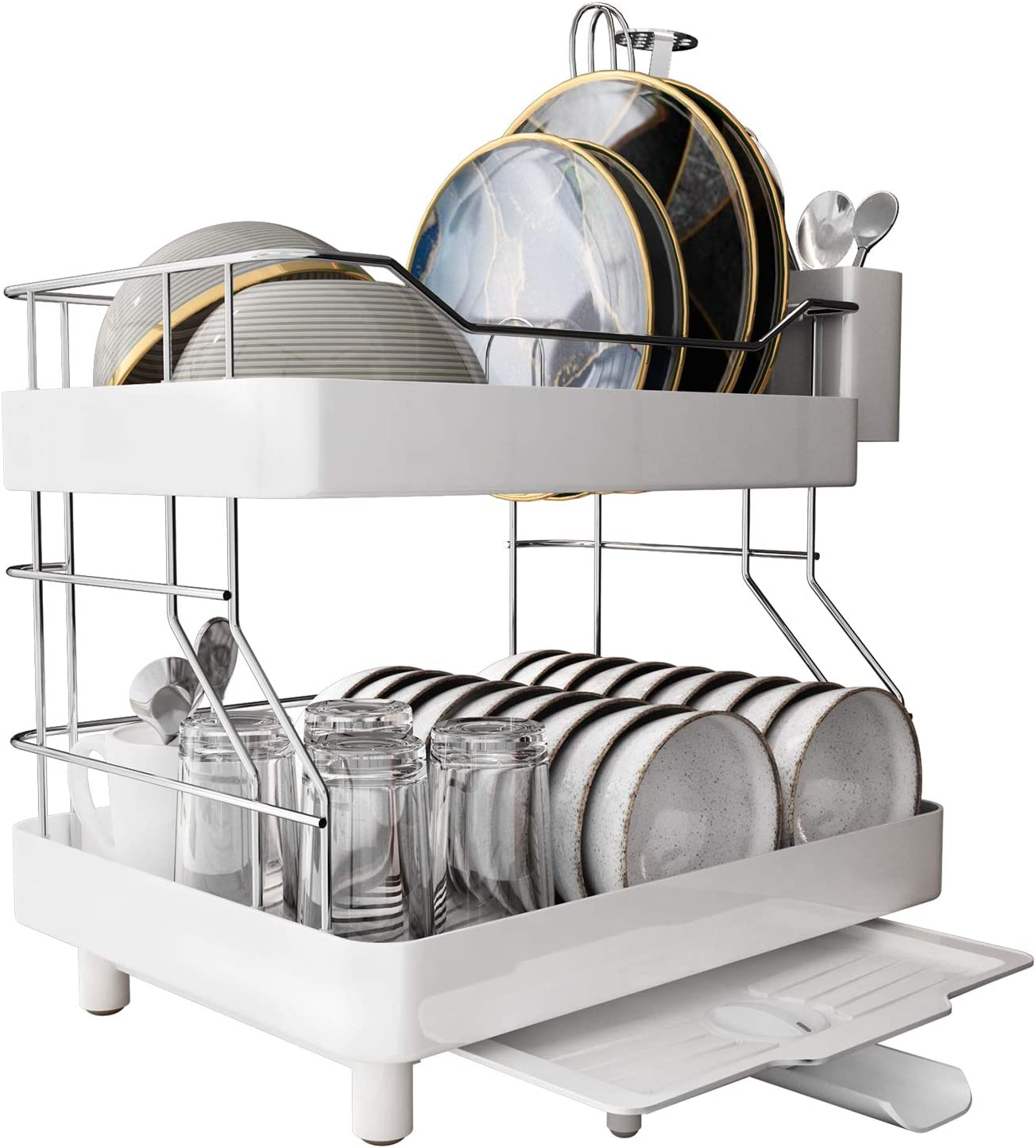 MAJALiS Dish Drying Rack, 2 Tier Stainless Steel Rustproof Dish Rack Drainer, Large Capacity Sink Side Dish Rack with Removable Utensil Holder & Adjustable Drain Spout, Suitable for Large Family