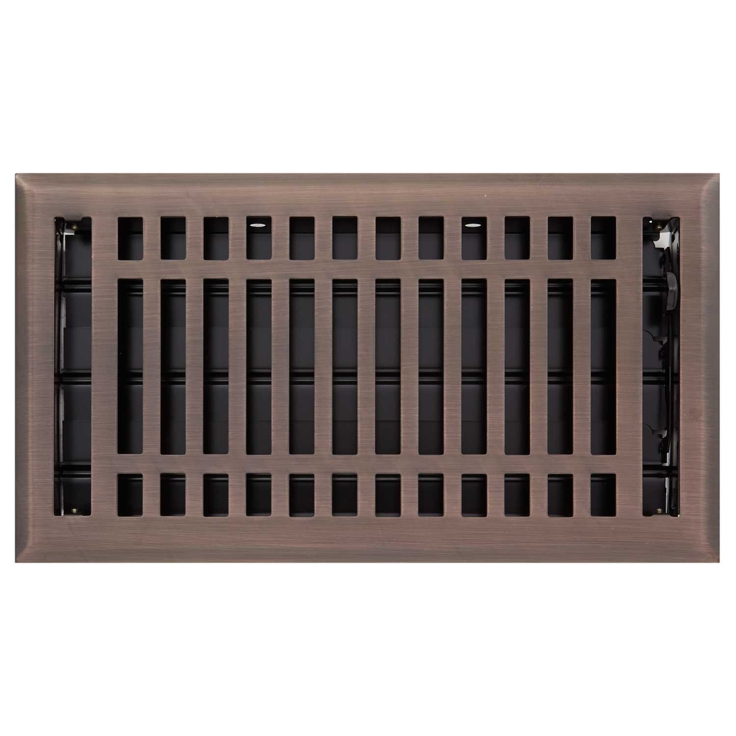 Naiture 6'' X 14'' Steel Louvered Floor Register with Damper or Lever Contemporary Style, Oil Rubbed Bronze Finish