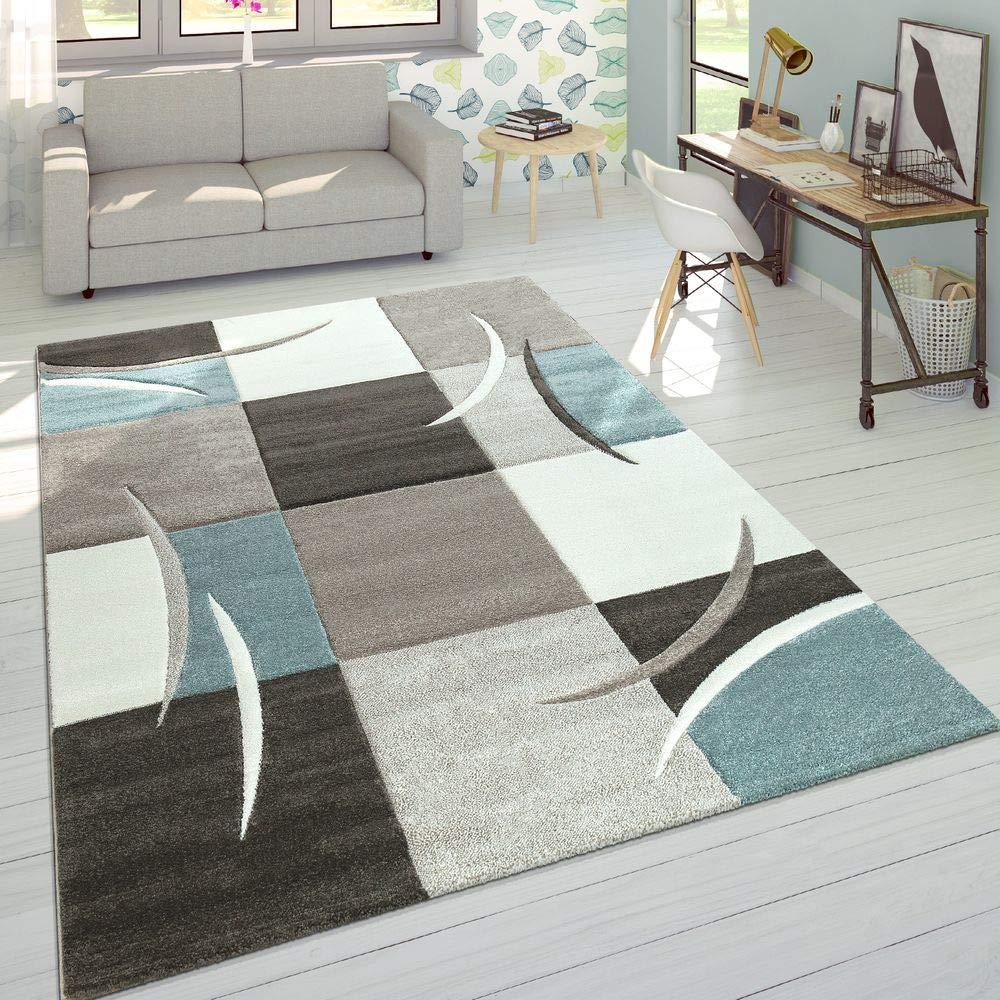 Paco Home Designer Teppich Modern Konturenschnitt Pastellfarben Karo Muster Beige Türkis, Grösse 200x290 cm