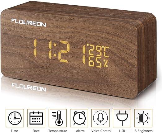 Despertador Digital, FLOUREON de Madera LED, Mesa Reloj Calendario ...