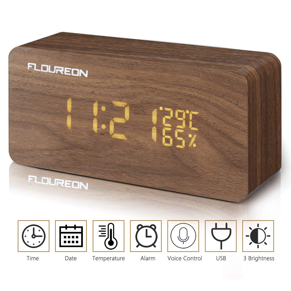 FLOUREON Wooden Alarm Clock LED Desk bedside Digital Clock Calendar/Time/Temperature/Humidity Displaying with 3 Brightness Adjustable and 3 Set of Alarm, Dual Power, Voice Control (Brown)