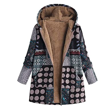 Women Winter Coats,BCDshop Womens Thickened Warm Jacket Retro Faux Fur Hooded Overcoat Outwear (
