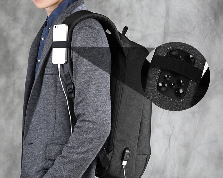 Gris Fresion Sac /à Dos antivol pour Ordinateur Portable Sac /à Dos r/ésistant /à leau avec Port de Charge USB pour 15,6 Pouces Ordinateur pour Femmes et Hommes