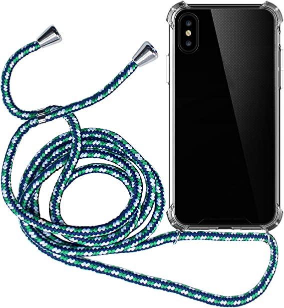 Ququcheng Funda Compatible con iPhone 7//iPhone 8,Ajustable Collar Correa de Cuello Cord/ón Cuerda Carcasa TPU Bumper Silicona Skin Caso para iPhone 7//iPhone 8-Azul