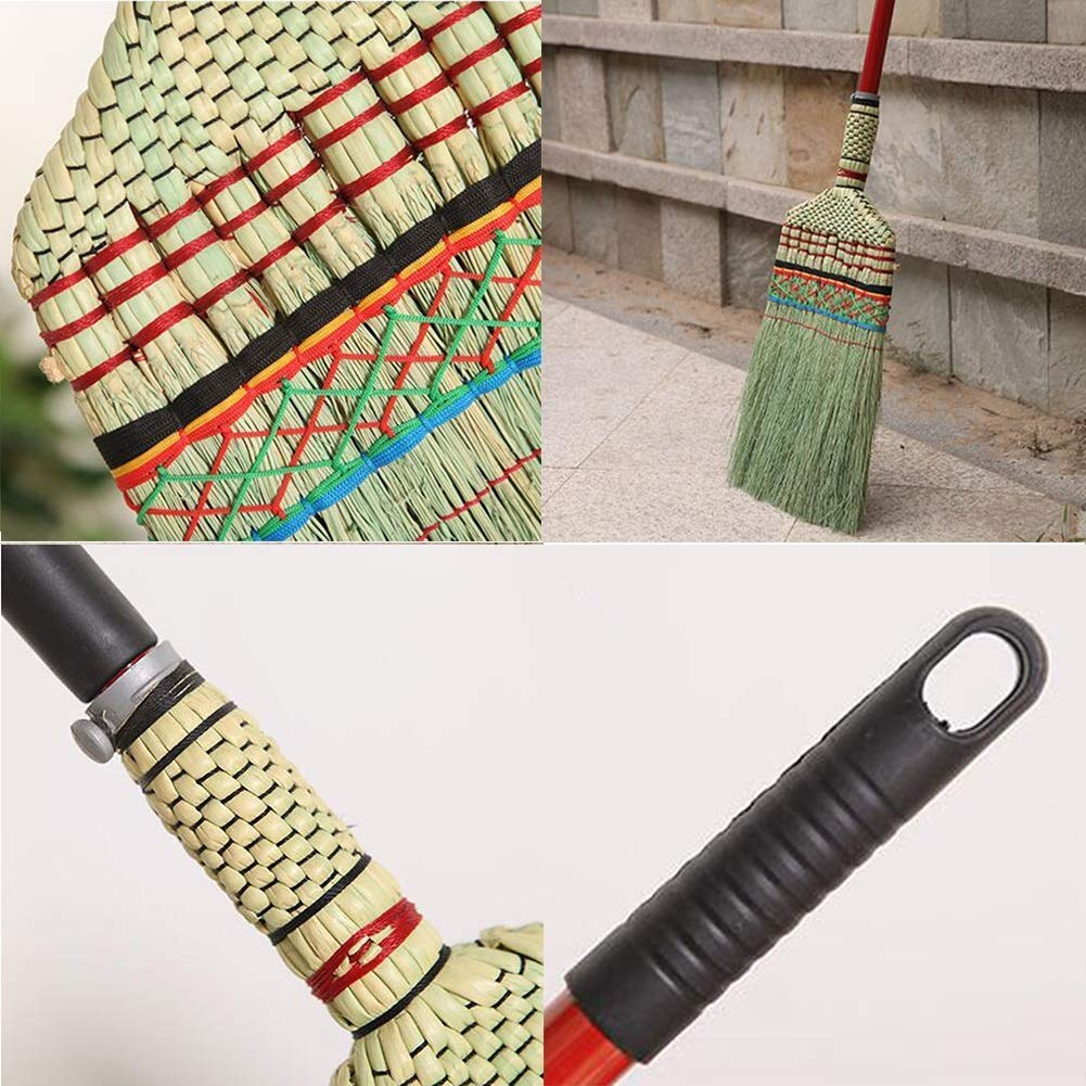 Zichen Straw Broom Sweeping The Ground Retractable Grip Labor Saving Soft Wear Resistant Hand Made Easy to Clean (Size : 130x30cm) (Size : 130x30cm) by Zichen