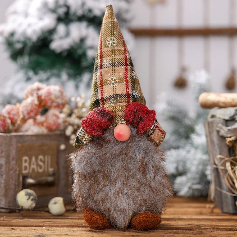 Ewolee Handmade Swedish Tomte, Scandinavian Christmas Figurines Santa Gnome Plush Doll with Long Hat and Beard for Table Decor, Desktop Ornament, Window Display, Xmas Gift (Type 4, Red Mitten)