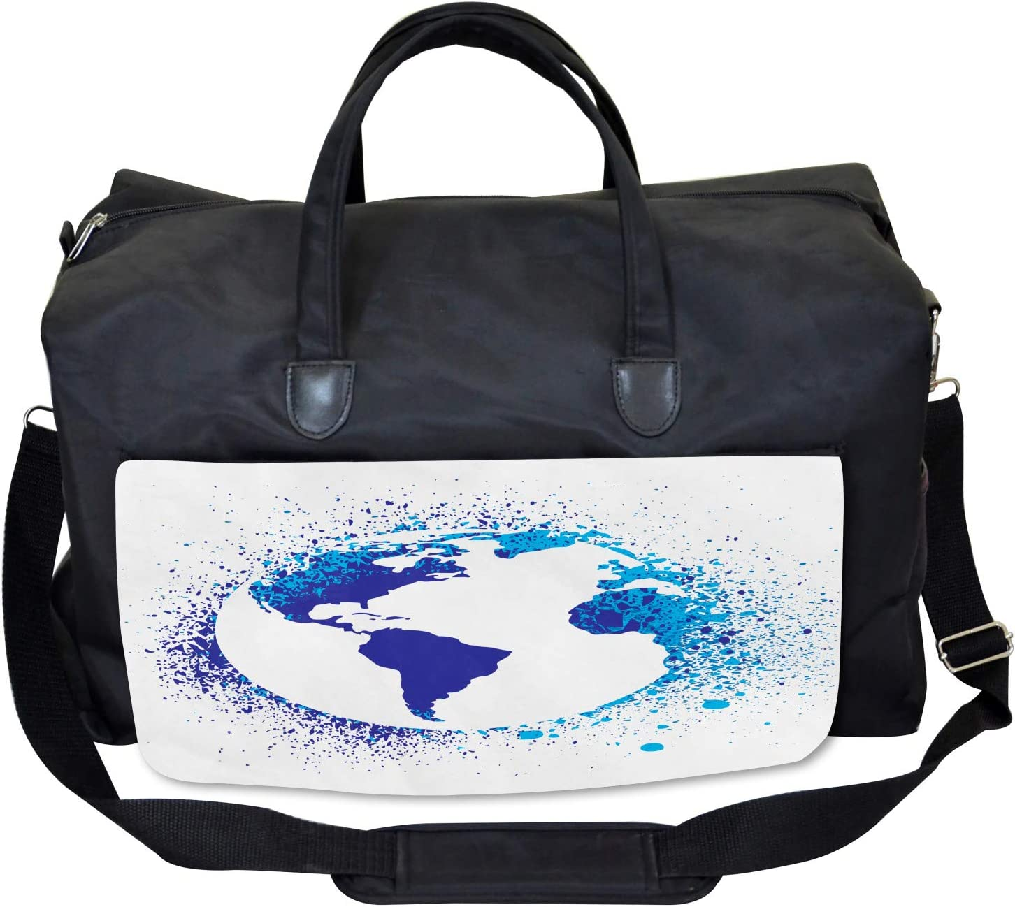 Globe Ink Effect Map Ambesonne Abstract Gym Bag Large Weekender Carry-on