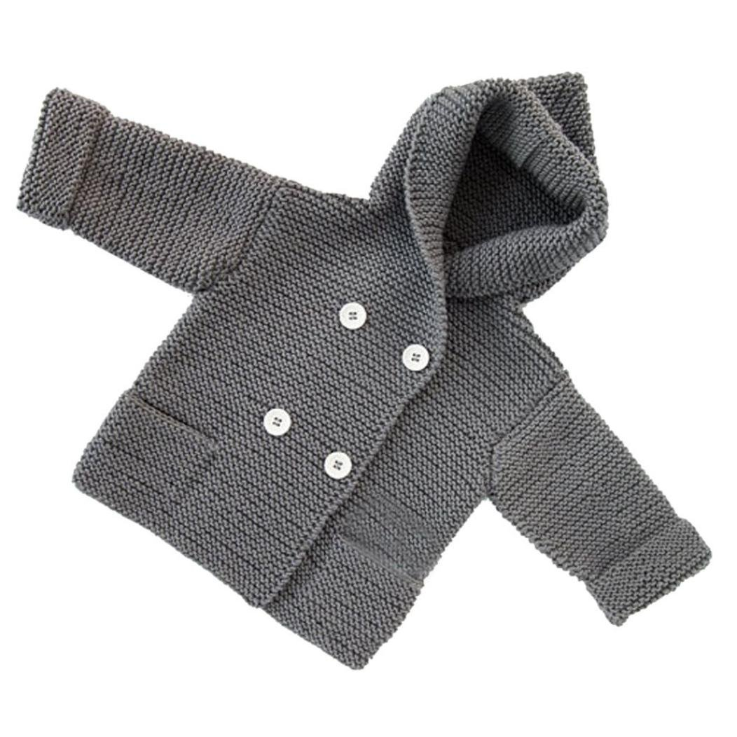 Toddler Kids Boys Girls Sweater Clothes Button Hooded Knitted Cardigan Coat Tops (3T, Gray)