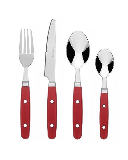 Bon Henley Juego de cubertería de 16 piezas de acero inoxidable, color Rojo: Amazon.es: Hogar