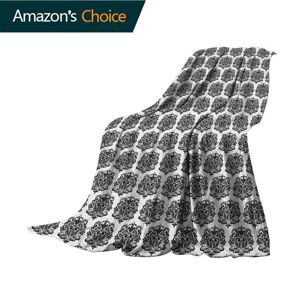 Damask Bed Blanket,Monochrome Antique Surreal Heraldic Medieval Design with Swirls and Curves Motif Flannel Blankets Super Soft Warm Thick Blanket for Home,30'' Wx50 L Black White by Custom&blanket