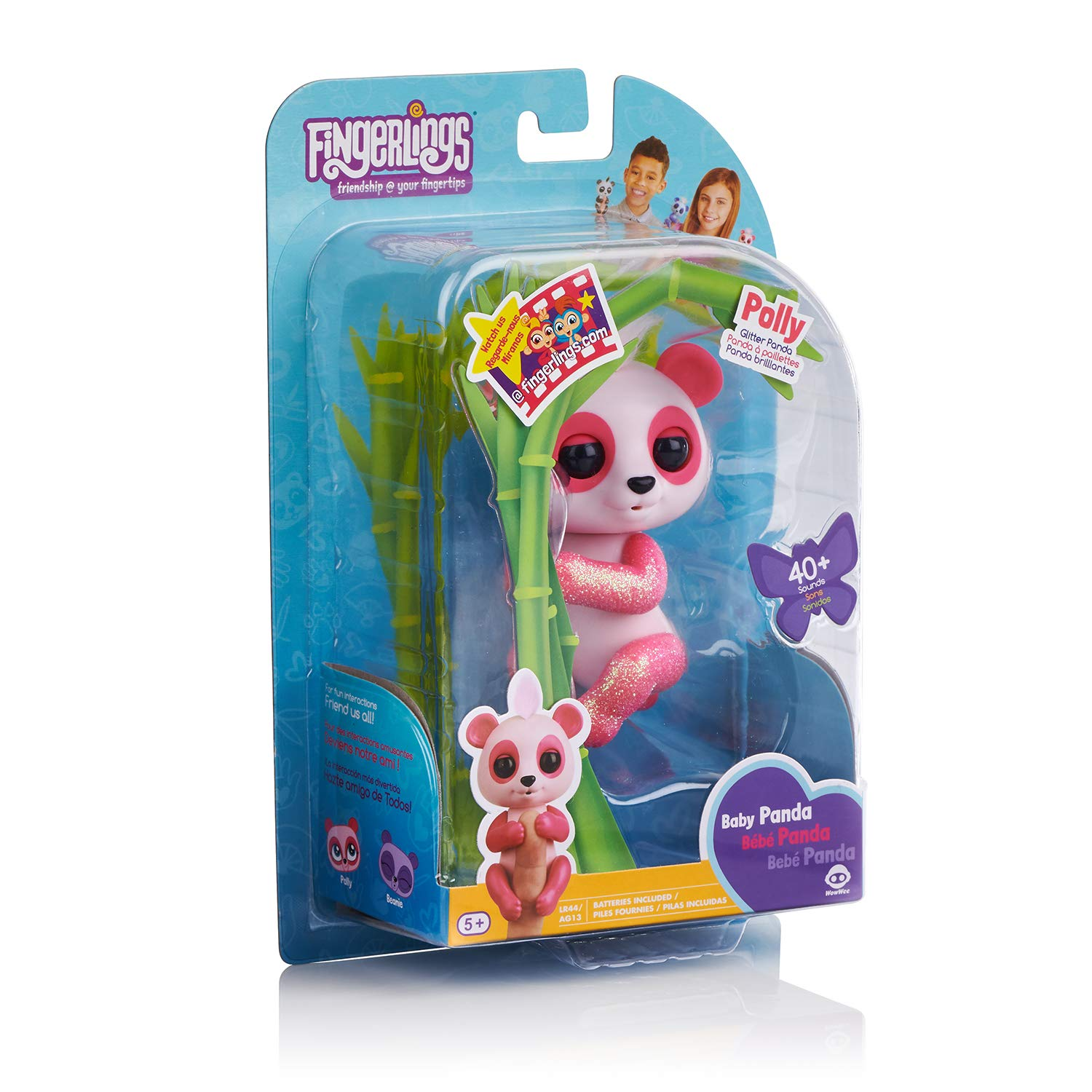 WowWee Fingerlings Glitter Panda - Polly - Interactive Collectible Baby Pet, Pink by WowWee (Image #8)