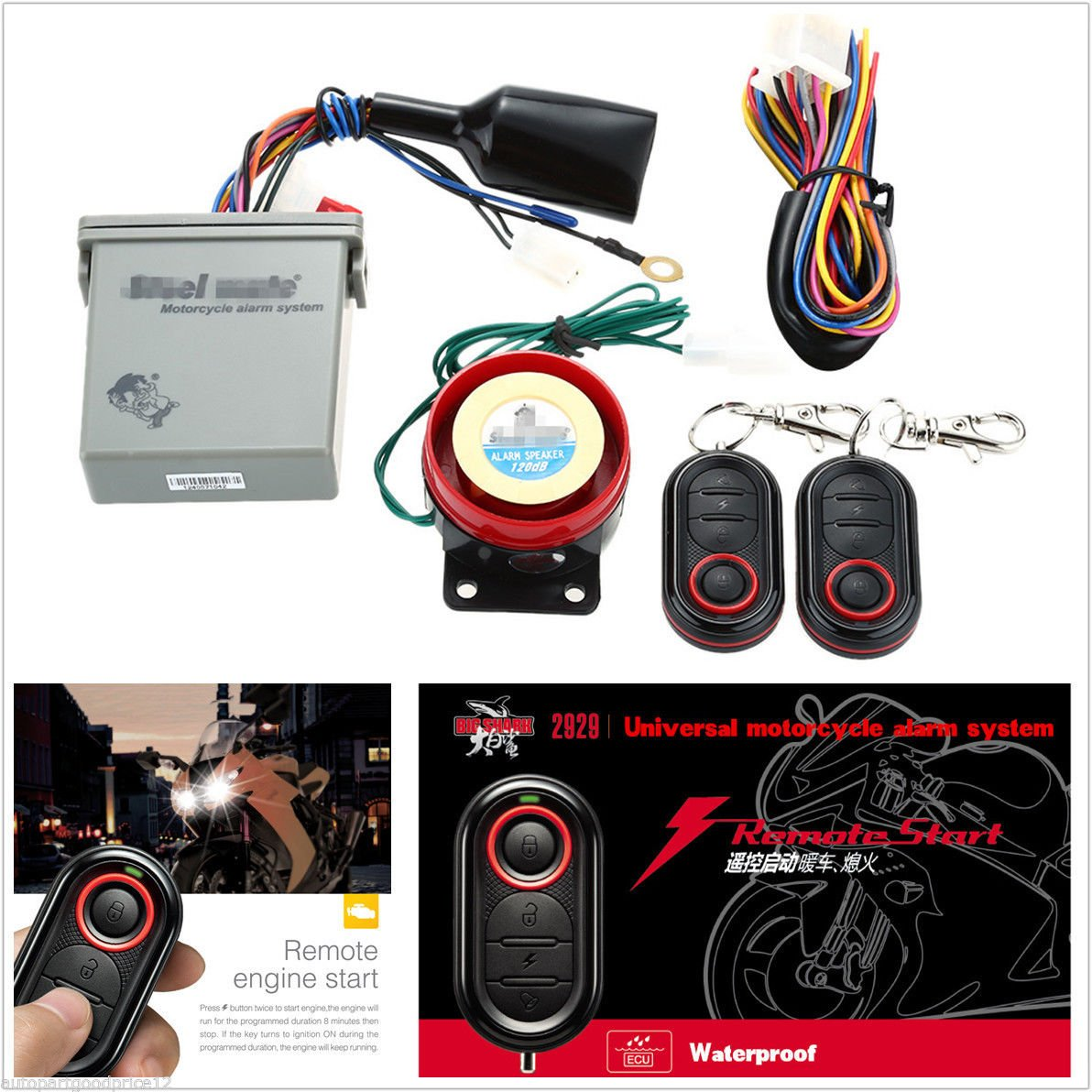 Scooter Motorcycle Anti Theft Alarm System Remote Engine Remot Motor Start With Transmitter Sports Outdoors