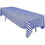 LinenTablecloth 60 x 126-Inch Rectangular Polyester Tablecloth Blue & White Checker