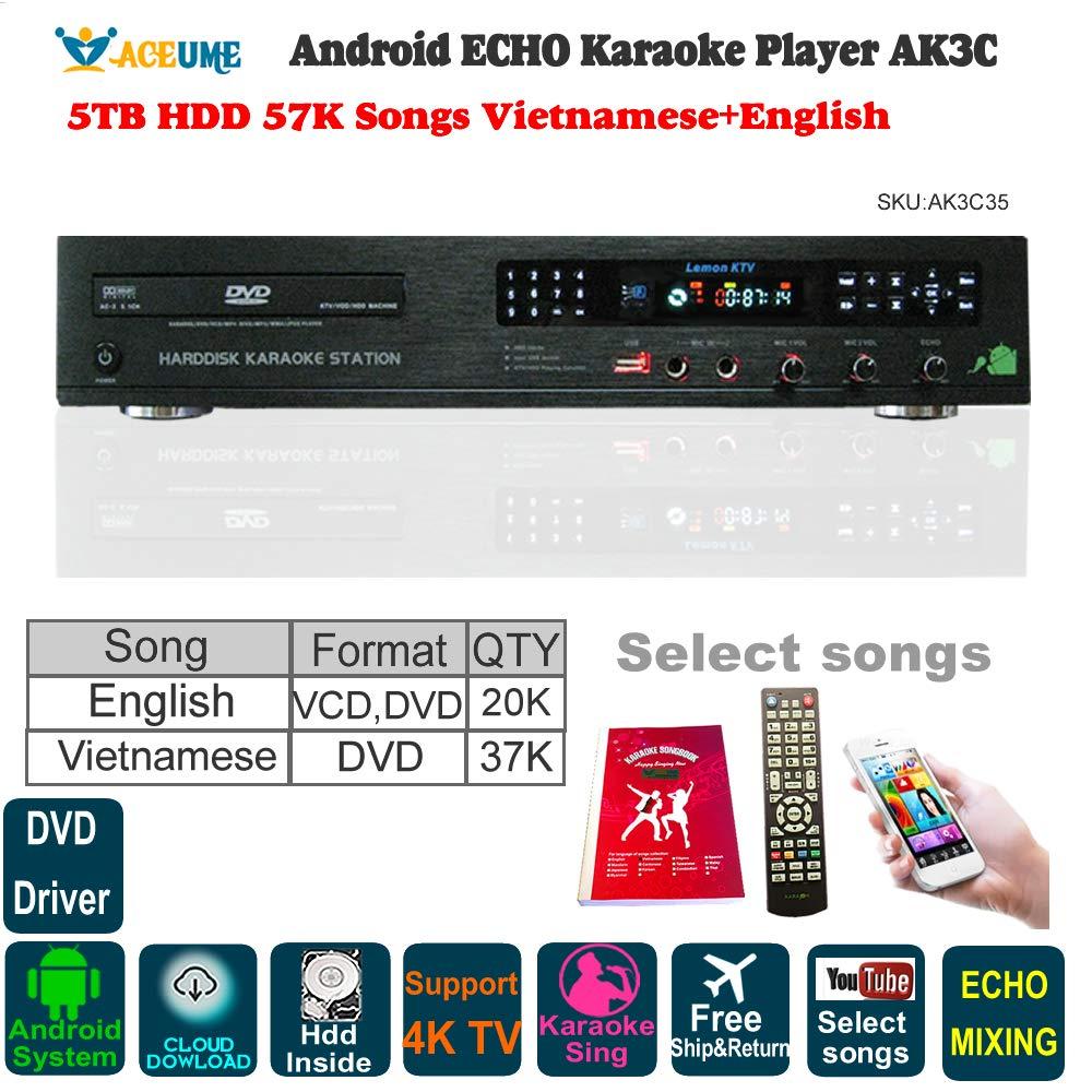5TB HDD 57K Vietnamese,English Songs,Android Cloud Karaoke Jukebox/Player, Free Cloud Download,Microphone Port, ECHO Mixing, DVD Driver,Watch TV,KODI,YouTube Songs Sing