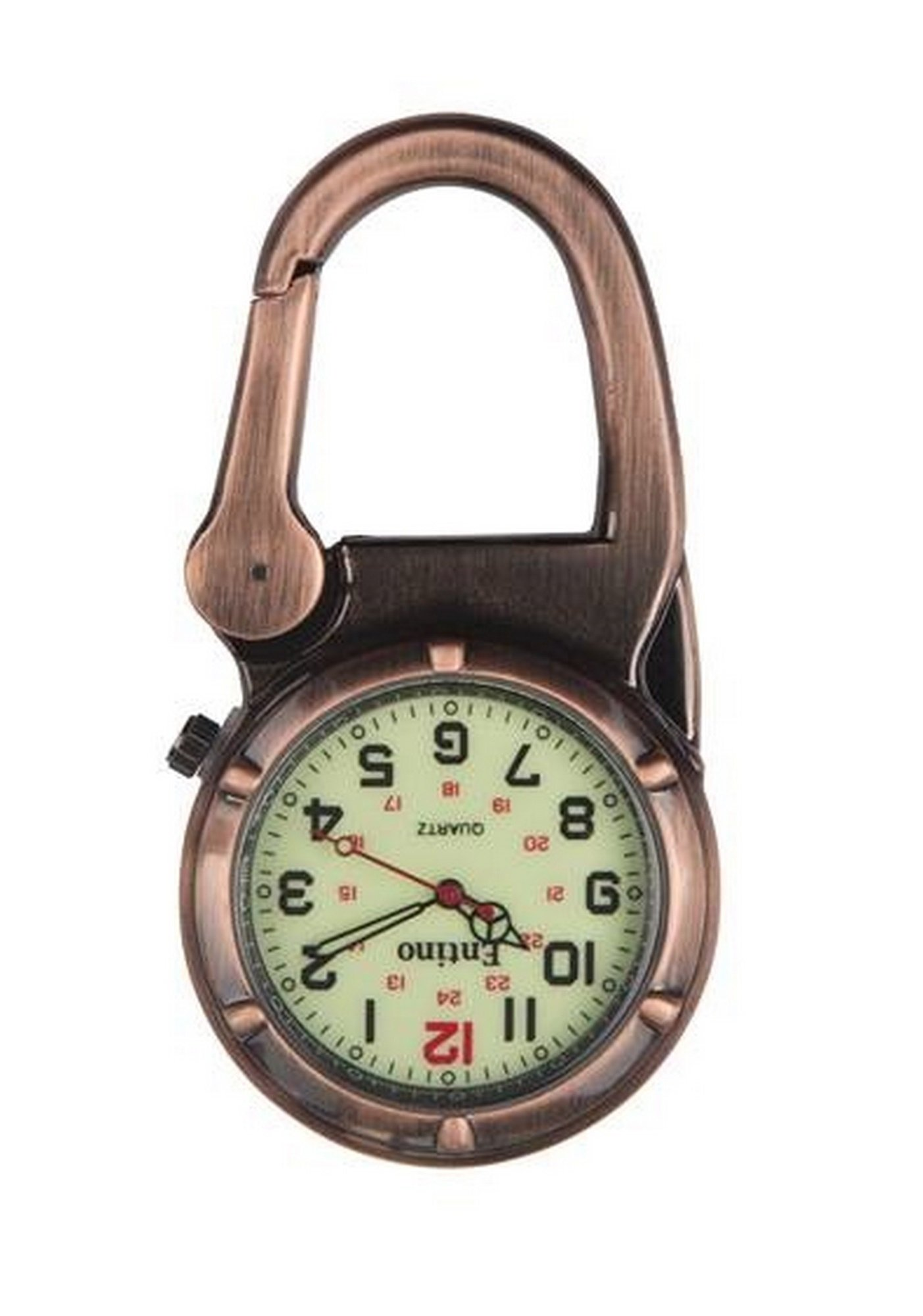 Entino Brand Antique Copper Clip on Carabiner Luminous Face Sturdy FOB Watch