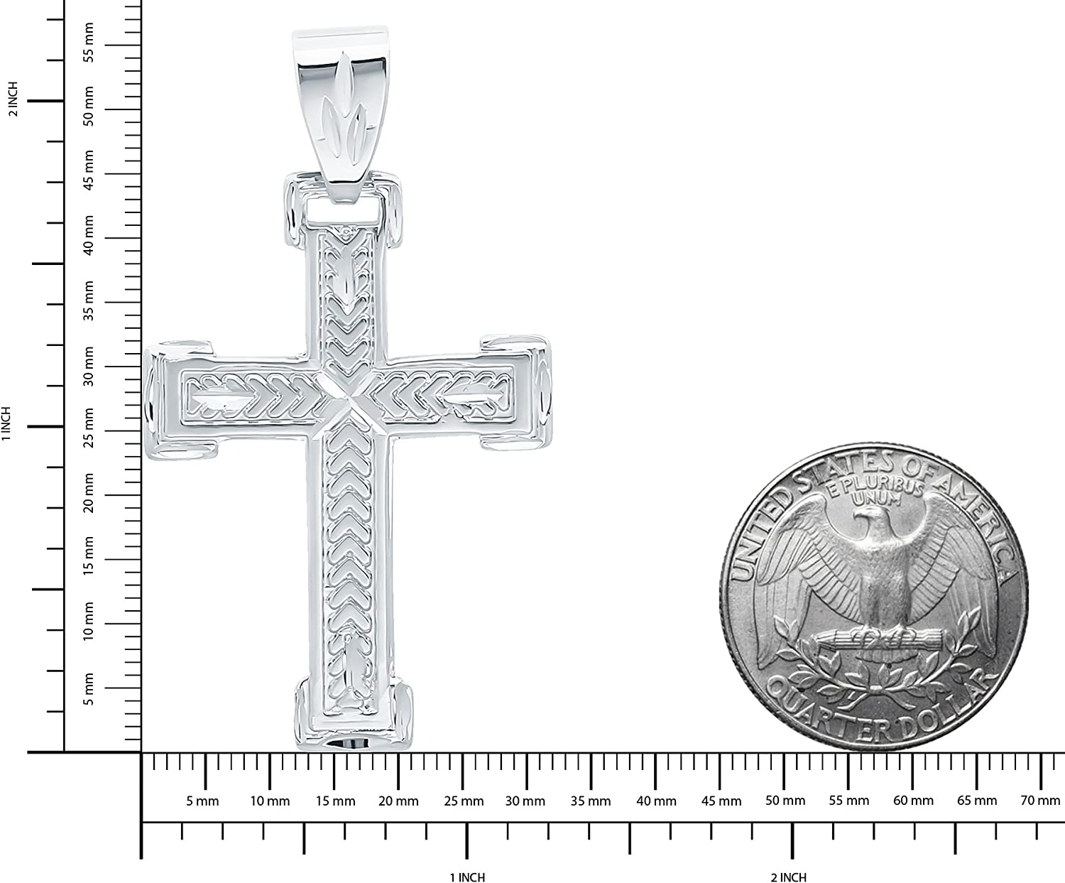 The Bling Factory Rhodium Plated 32mm x 46mm Chevron Patterned Inlay Cross Pendant Microfiber