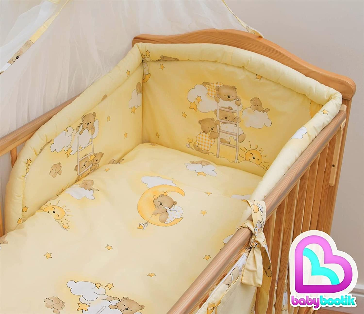 6 Piece Baby Cot Bedding with Padded Thick Bumper and Fitted Sheet Pattern 10 120x60 cm