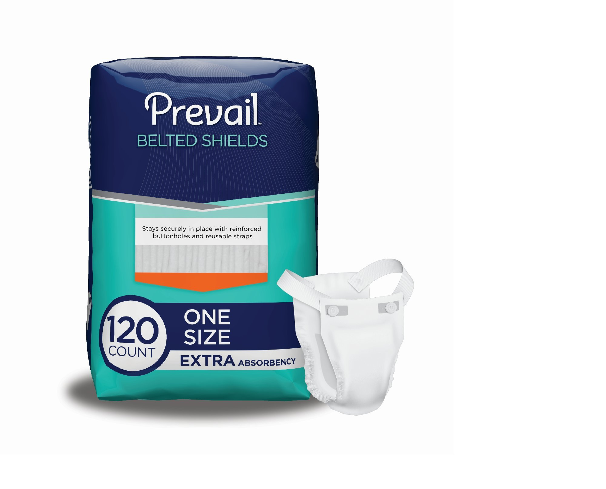 Prevail Extra Absorbency Incontinence Belted Shields, 120 Total Count