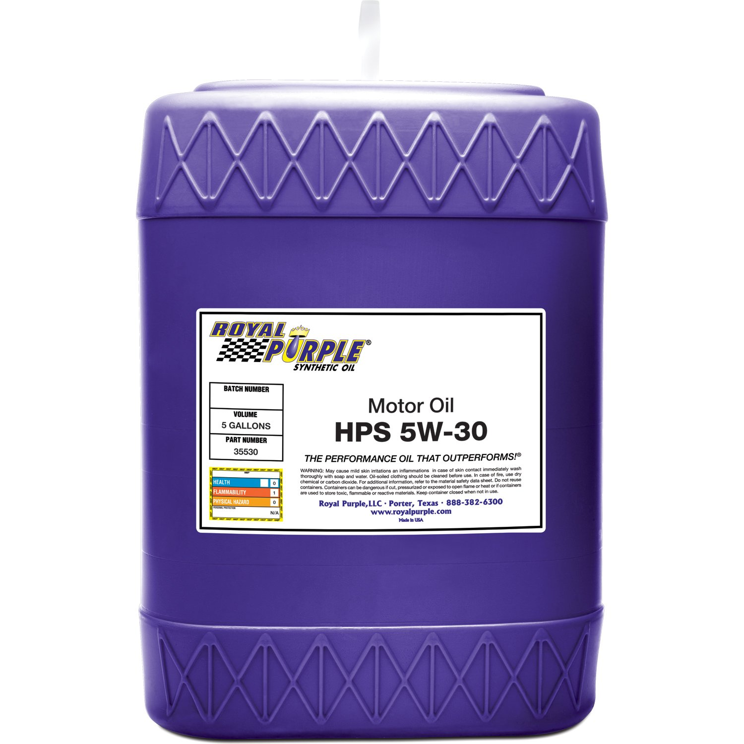 Royal Purple 35530 HPS 5W-30 High Performance Street Synthetic Motor Oil with Synerlec - 5 gal. by Royal Purple