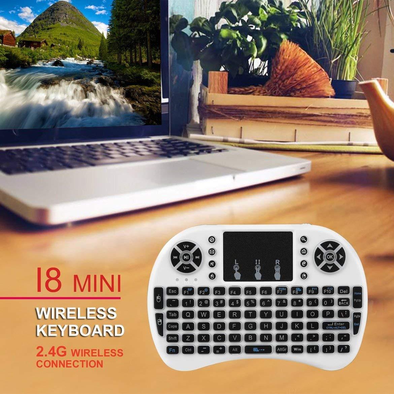 ngzhongtu Mini Teclado Remoto inal/ámbrico de 2.4GHz con Mouse de Panel t/áctil para Android TV Box 3 Colores LED Luz de Fondo Bater/ía Recargable de Iones de Litio Blanco