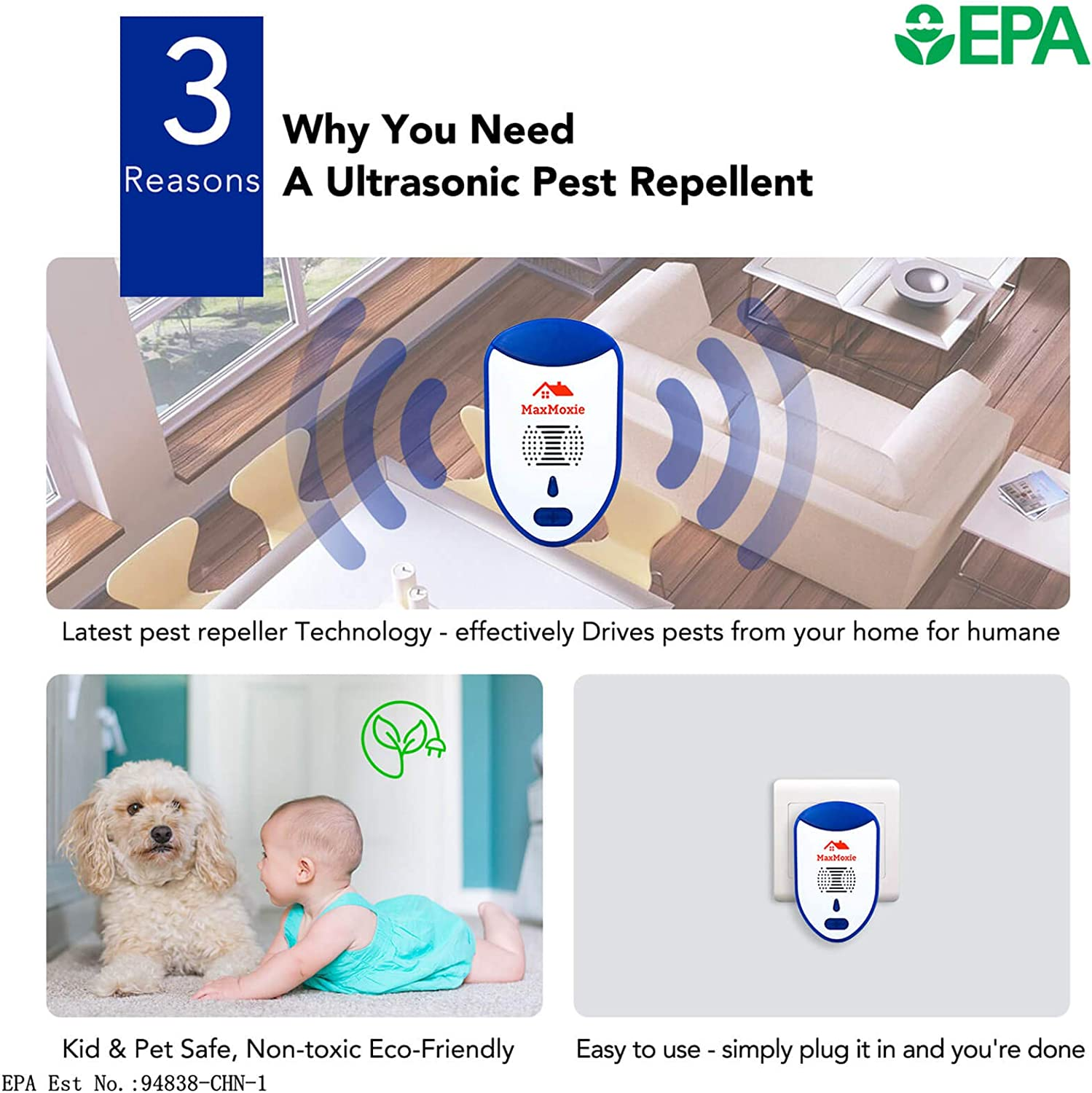 Ultrasonic Pest Repeller Humane Mice Control Electronic Insect Repellent Reject Rodent Bed Bug Spider Rat Defender Home Animal Plug in 2 Pack : Garden & Outdoor