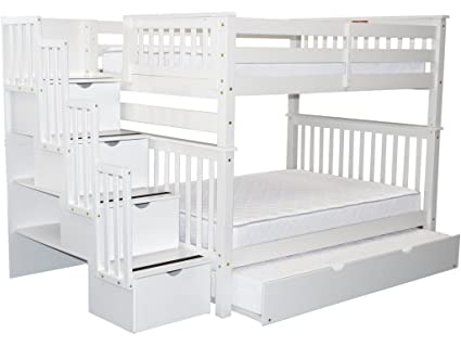 Bedz King Stairway Bunk Beds Full Over Full With 4 Drawers In The Steps And  A