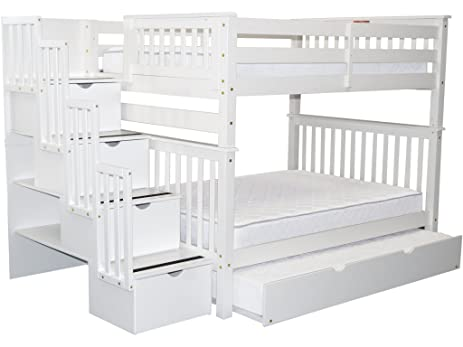 Bedz King Stairway Bunk Beds Full Over With 4 Drawers In The Steps And A