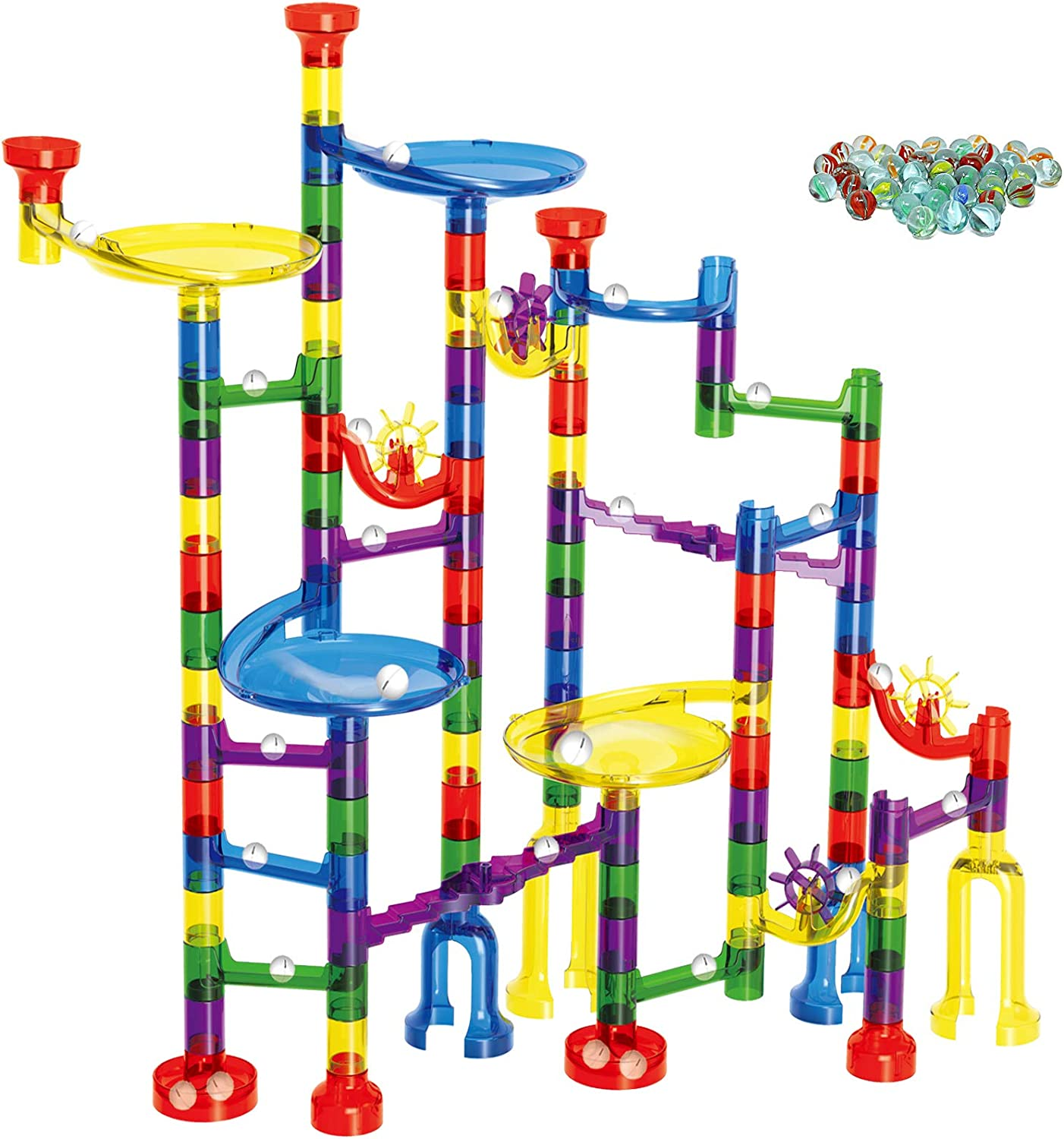 EOYIZW Marble Run for Kids Premium Set- 200 PCS Marble Runs Maze Game Educational Building Block Toy- Marbles Run Track Gift for 4 5 6 7 Year Old Boys Girls (90 Plastic Pieces + 110 Marbles)