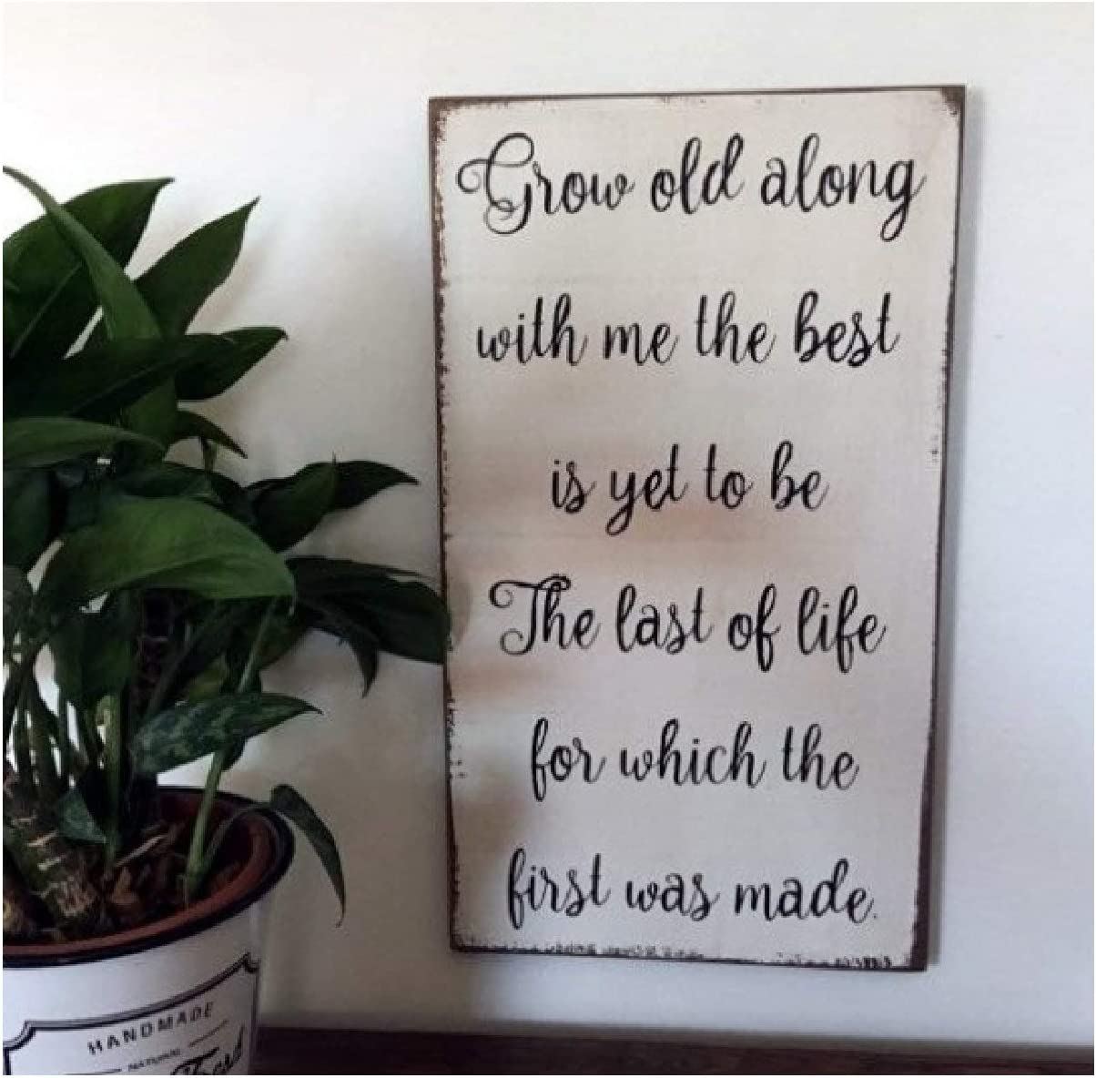 """PotteLove Rustic Wooden Plaque Wall Art Hanging Wood Sign Grow Old Along with Me The Best is Yet to Be Wood Sign 20""""x12"""""""