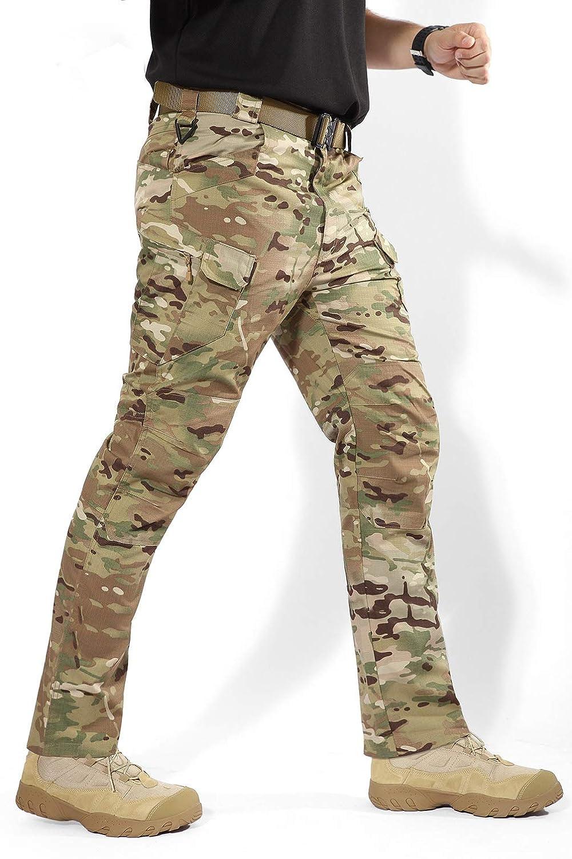 YuanDian Hombre Militar Tactico Camuflaje Pantalon Multi-Bolsillo Casual Outdoor Cargo Combate Pantalon Slim Fit Impermeables Senderismo Alpinismo Trekking Camping Caza Pantalones