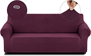 Cristgee Super Stretch Sofa Slipcover, Water Repellent Couch Cover with Elastic Bottom, Washable Anti-Slip Furniture Cover Protector with Non-Skid Foam for Kids, Pets (Sofa, Wine)