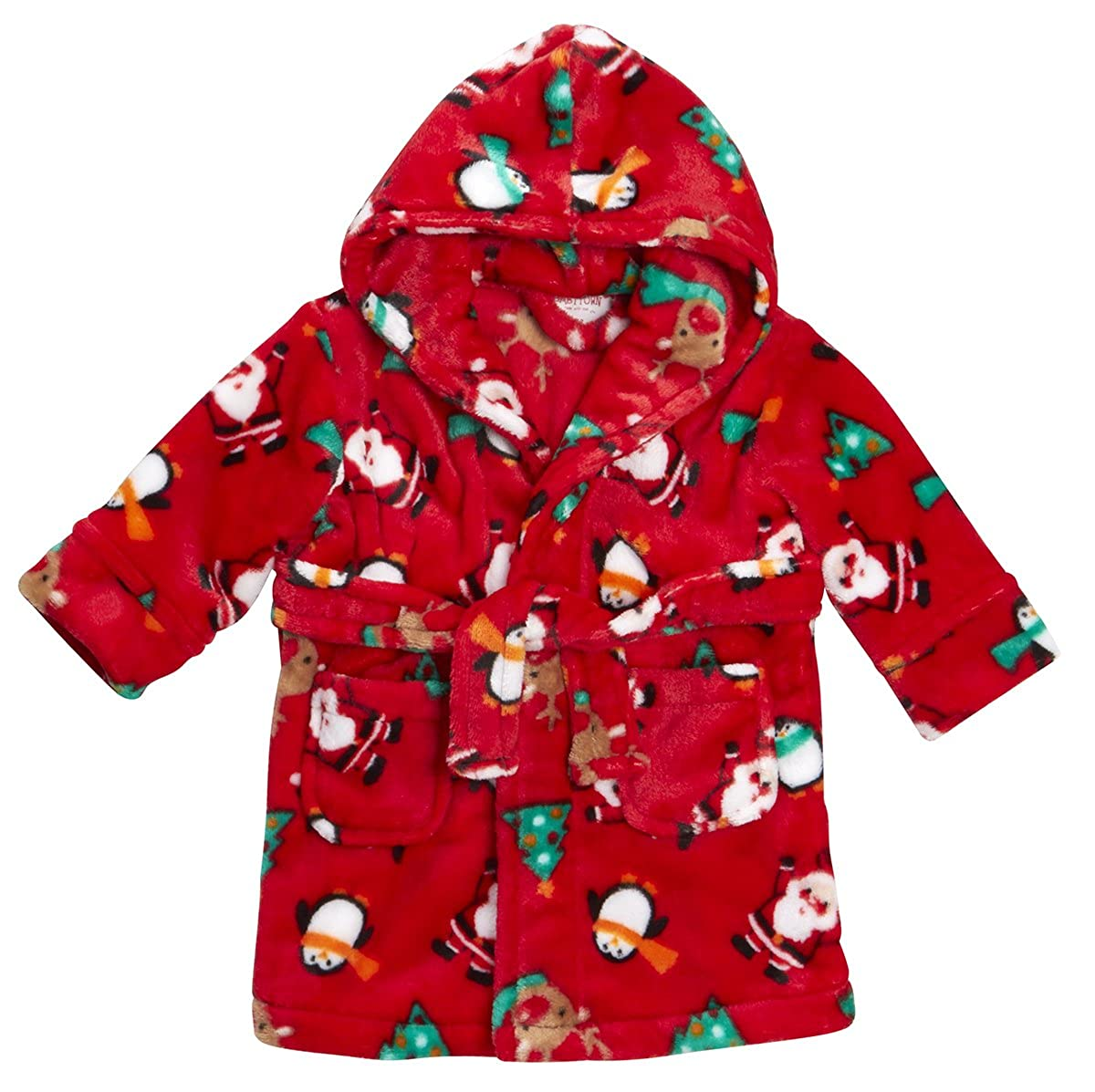 BABY TOWN Babytown Festive Christmas Santa Baby Hooded Dressing Gown Robe