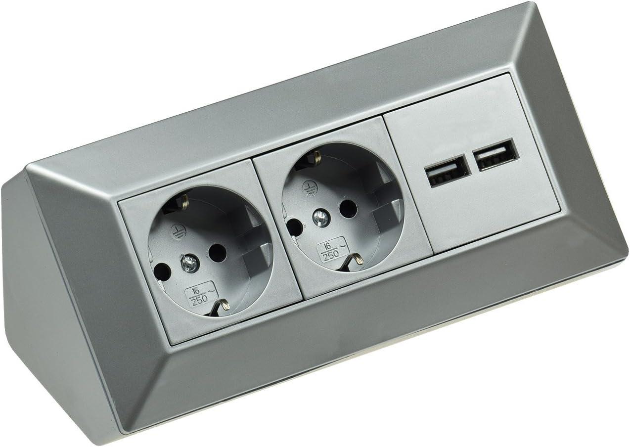 2 enchufes de mesa + 2 enchufes USB esquineros de 230 V, 16 A y 45° de montaje, precableado para encimera, oficina, cocina, taller, color plateado: Amazon.es: Jardín