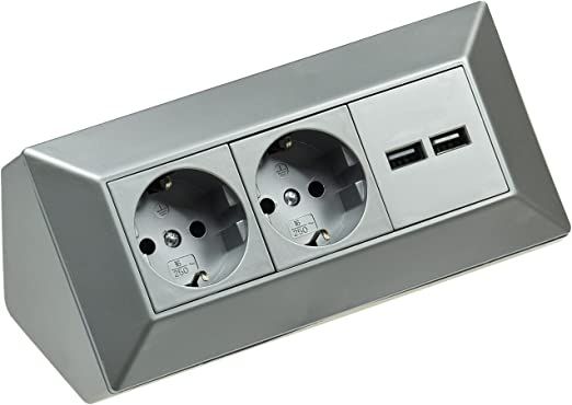 2 enchufes de mesa + 2 enchufes USB I esquineros 230 V 16 A 45 ...