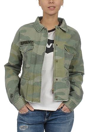 new products 32eec d6e22 Superdry Jacke Damen Crop Utility Jacket Washed Camo: Amazon ...