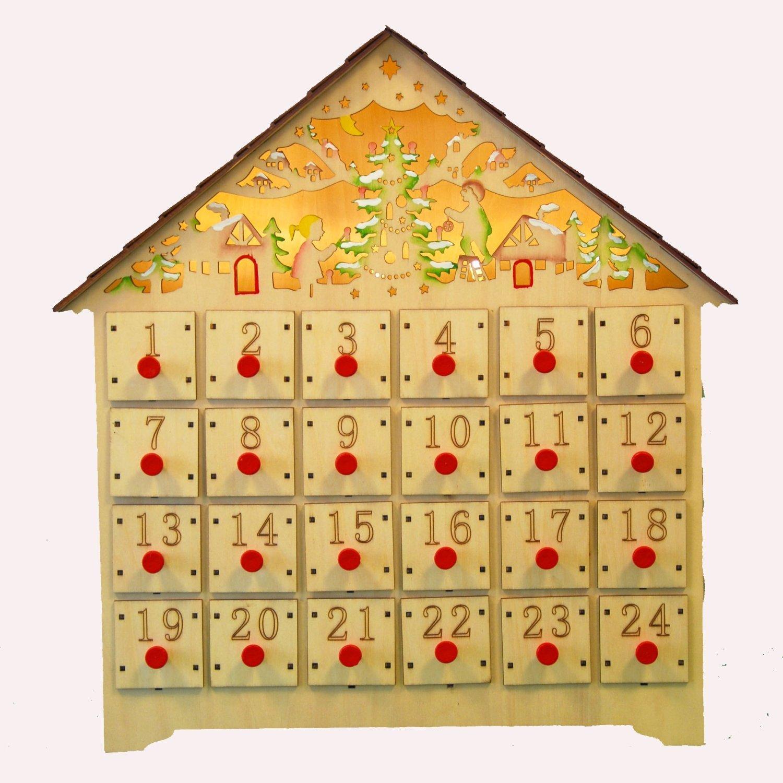 yanka-style - Calendario dell'avvento in legno, con illuminazione interna