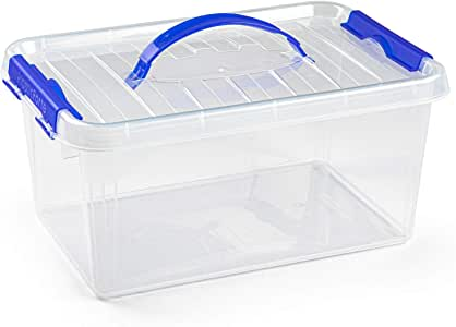 PLASTIC FORTE, Caja de almacenamiento, Transparente, 8 litros, con asa: Amazon.es: Hogar