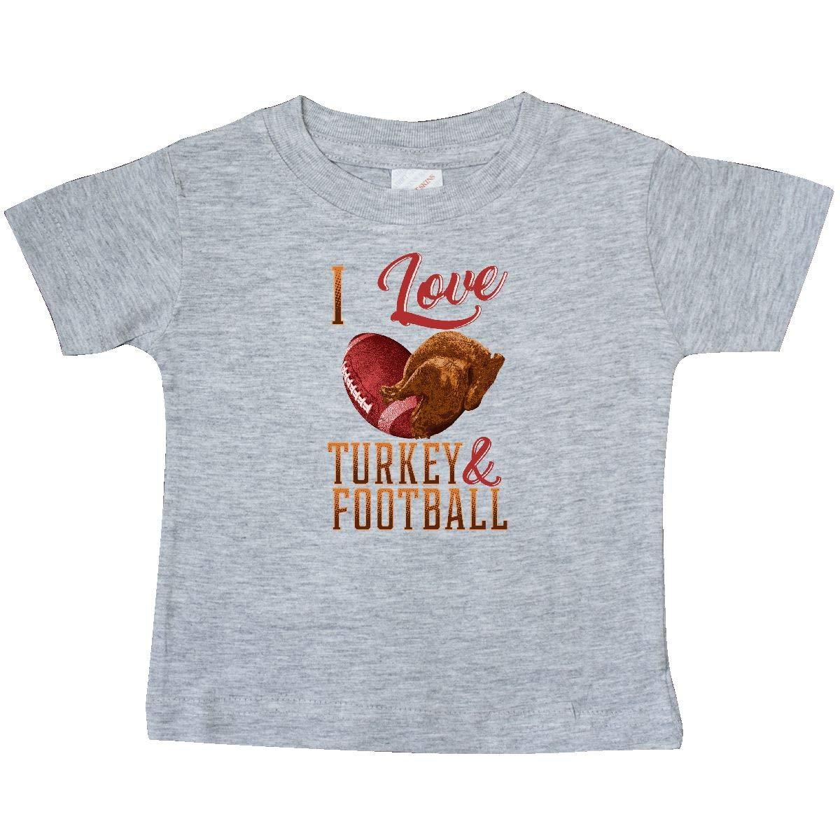 inktastic Thanksgiving I Love Turkey and Football Baby T-Shirt